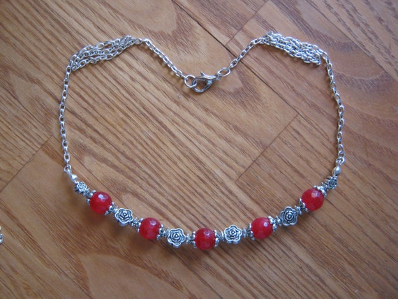 Handmade Silver Necklace with Facetted Red Ruby & Roses by IreneDesign2011