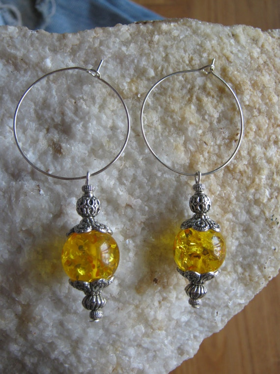 Beautiful Silver Hoop Earrings with Amber