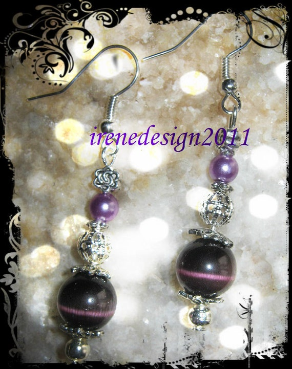 Handmade Silver Earrings with Purple Cat Eye, Pearl & Rose by IreneDesign2011