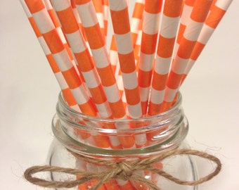 25 Orange Stripes paper straws // baby bridal shower decorations // candy dessert buffet table // wedding // First birthday/new year party