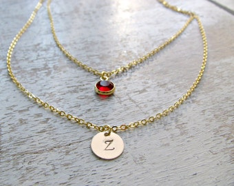 Layered Initial Necklace monogram letter Necklace Swarovski Birthstone Custom Stamped Letters 14k Gold Filled disc monogram initial necklace