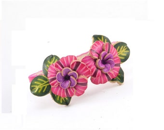 Genuine Leather Flower Bracelet /  Purple Pink Flower Bracelet /  Boho Chic