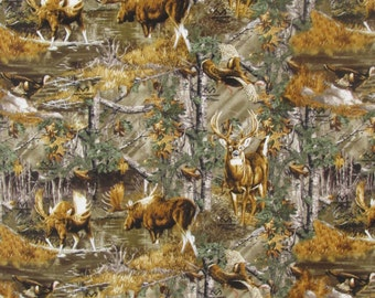 Per Yard, Real Tree Woods with Animals Camo Fabric 9906 From Print Concepts