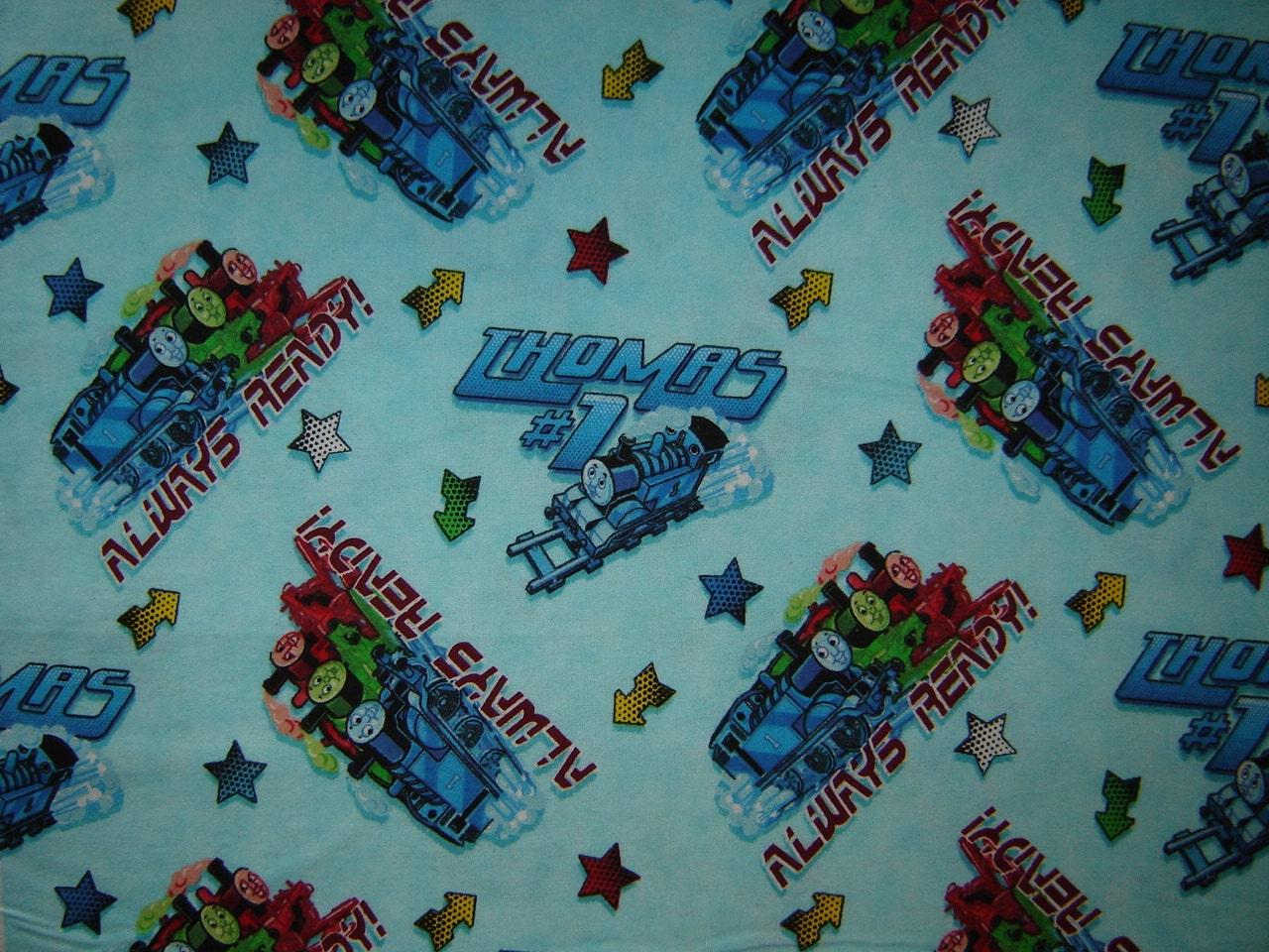 Per yard thomas the train flannel fabric by cuttingedgefabrics for Train fabric by the yard