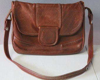 Vintage 60s 70s Distressed Leather Shoulder Bag Purse