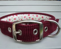 Burgundy Cordoroy  Custom Dog Collar