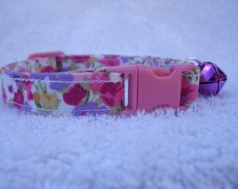 Pink Girly Print Cat Collar with breakaway buckle