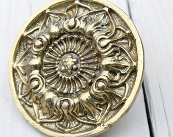 Brass Medallion Vintage Curtain Tie Backs With Hardware Great Patina Set Of 4