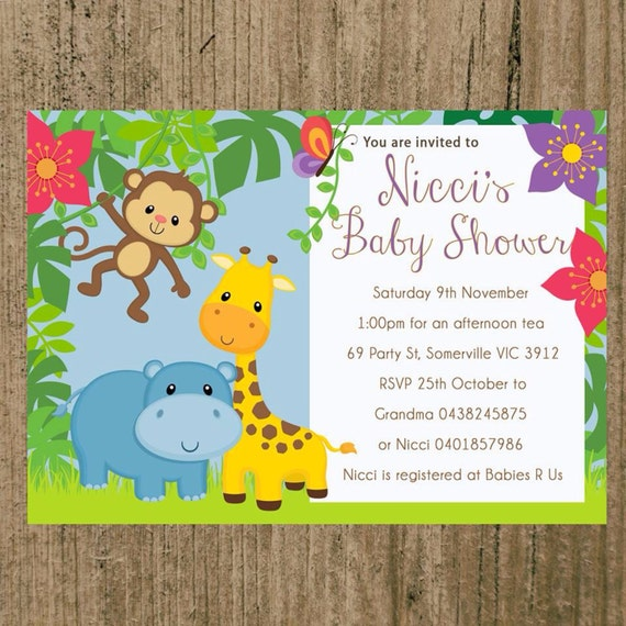 baby shower invitations jungle theme print at home i customise you