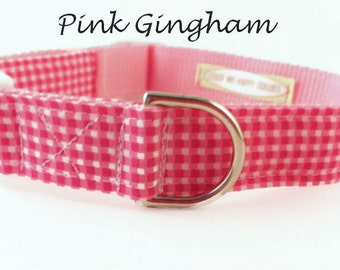 Pink Gingham Dog Collar, Adjustable Sizes for small dogs to Extra large dogs