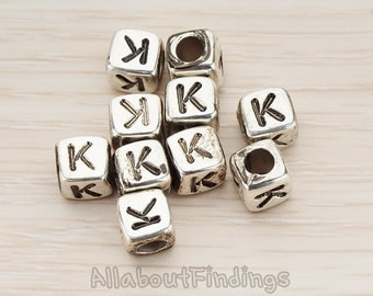 PDT1135-K-AS // Glossy Antique Silver Plated Initial Cube Metal Bead, 4 Pc