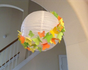 "12"" summer leaves, paper lantern, butterfly lantern, butterfly party, beach party, butterfly birthday, butterfly decor, hanging lantern"