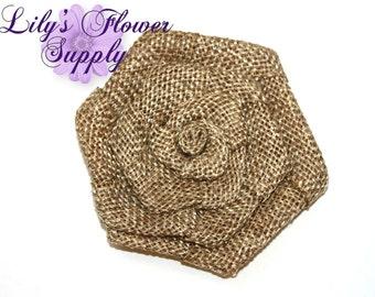 Brown Flat Rolled Rosette Burlap Flowers - Burlap Flower - 3 Inches - Burlap Rose - Rolled flowers - Wholesale - supply - Wedding