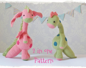 Crochet Dragon and Dinosaur Amigurumi PATTERN ONLY PDF Instant Download Cute Childrens Gift Toy Stuffed Animal