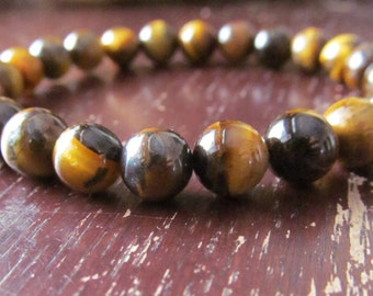 8mm Tiger Eye Gemstone Bracelet, Handmade Gemstone Beaded Bracelet, Womens or Mens Bracelet, Yoga Bracelet, Yoga Jewelry, Mala Bracelet