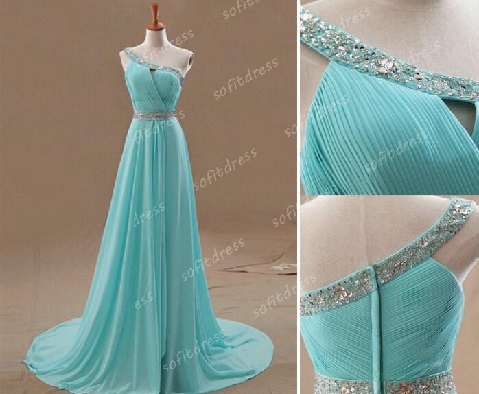Cheap Wedding Dresses Websites: One Shoulder Prom Dress Tiffany Blue Prom Dress By Sofitdress