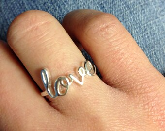 Sterling Silver Love Script Ring, Heart, Love Letter Ring, Friendship, Best Friend, Valentine's Day, Couple, Anniversary, SIZE 7 ONLY, Gifts