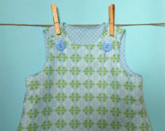 Green and blue  summer dress 3-6mths, 6-12mths