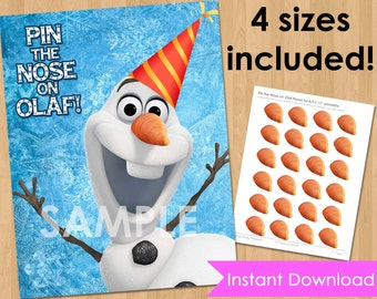 Disney Frozen Birthday Party Printable - INSTANT DOWNLOAD Pin the Nose on Olaf Frozen Game- Frozen Birthday Game - Frozen Party Decorations