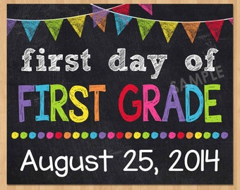 Vibrant image throughout first day of first grade printable