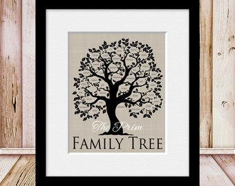 FAMILY TREE, Personalized Family Tree Print, Name and Est Date Family Tree, Parents Anniversary Gift, Christmas Gift, Grandparents Gift