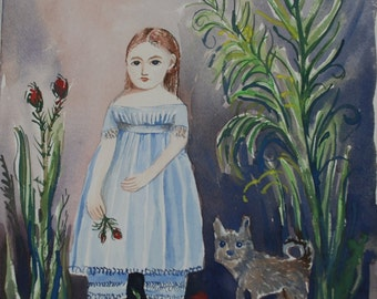 Muzy.  Watercolor of girl and terrier in primitive style.