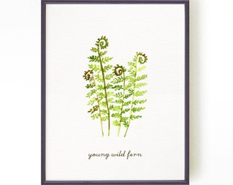 Fern watercolor painting, Nature art, Botanical art print, Garden art, Green wall art, Living room art YOUNG WILD FERN, Buy 2 Get 1 Free