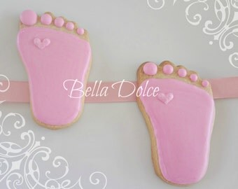 Pink Baby Feet with a Sparkle 2 Dozen (24 cookies) Baby Shower Favor - Birthday Gift