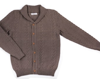 Men's lambswool Shawl neck cardigan with handmade oak buttons/jacket/sweater cardigan/jumper/cable knit/gray/black