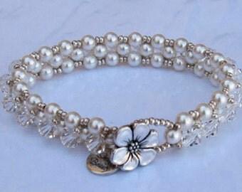 Blushing Bride Bracelet - sterling silver, swarovski crystal and pearls