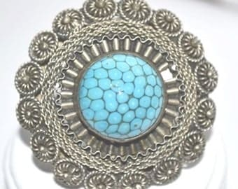Vintage Signed Natural Blue Turquoise Matrix in Silver  Brooch