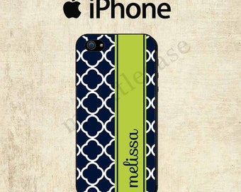 iPhone 6 Case - Personalized iPhone 5C Case - Navy Blue Lattice iPhone 4 Case - iPhone 5 Case - iPhone Case - iPhone 5S Case