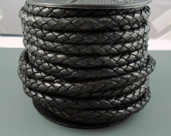 Leather Braided Cord, 6MM Black Bolo Leather, Excellent Quality All Leather, One Yard