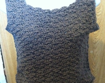 breathable handmade tank top (grey) small, tops and tees, summer top, crochet top