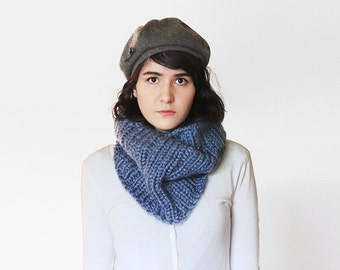 Chunky Knit Circle Scarf - Ribbed Knitted Cowl - Warmer in Denim - Fall Knitwear | The Neso Cowl |