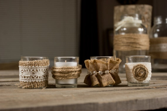 burlap lace wedding candle country wedding favors