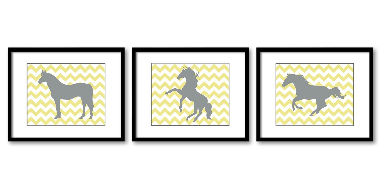 Yellow Grey Gray Horse Horses Set of 3 Nursery Art Nursery Print Child Baby Art Print Girls Kids Roo