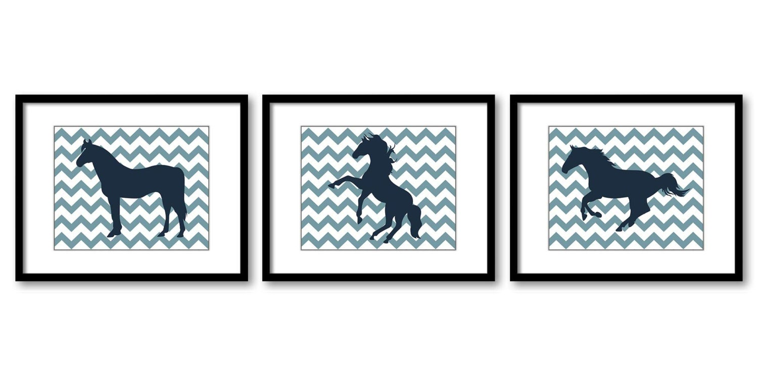 Blue Navy Horse Horses Set of 3 Nursery Art Nursery Print Child Baby Art Print Girls Kids Room Wall