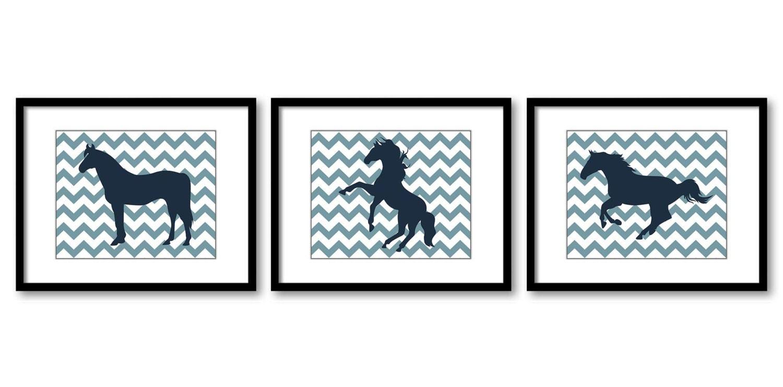 Blue Navy Horse Horses Set of 3 Nursery Art Nursery Print Child Baby Art Print Girls Kids Room Wall