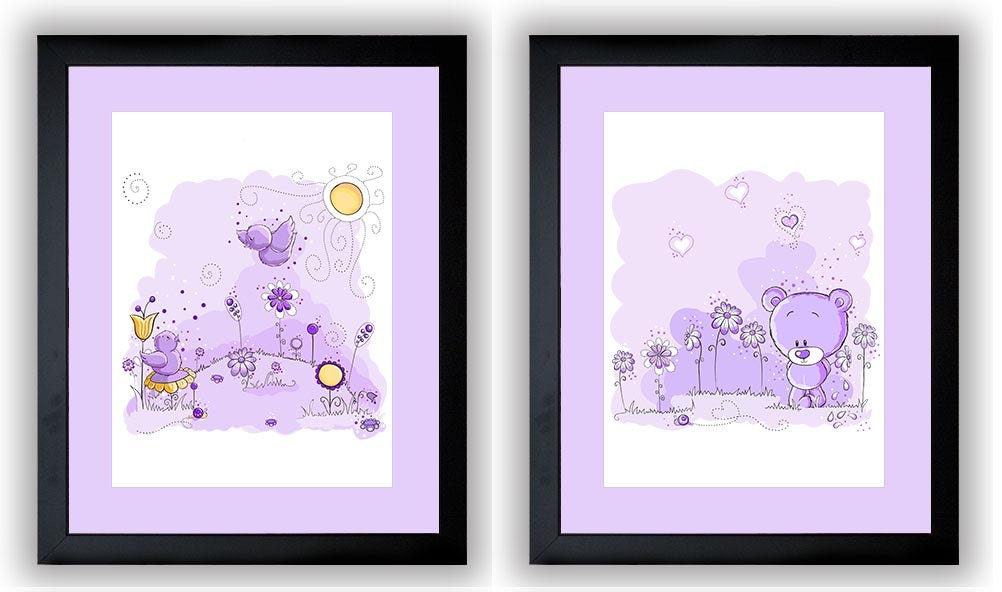 Delicate Purple Baby Girl Nursery Art Nursery Print Set of 2 Baby Art Teddy Bear and Birds Wall Art