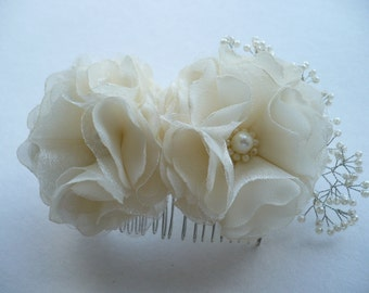 Ivory Flower Hair Comb - Bridal Hair Combs - Ivory Wedding Headpiece - Pearl Hair Piece - Flower Hair Combs - Flower Headpiece