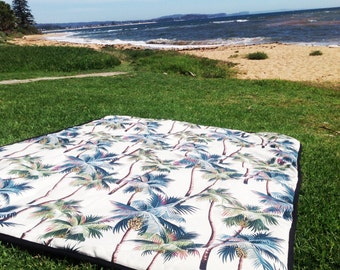 Picnic Blanket Picnic Rug Hawaiian Palms Beach Blanket Outdoor Modern New Tropical Design Cream, Sage Green or Black