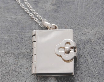 Silver Book Locket Pendant (With Four pages to Personalise)