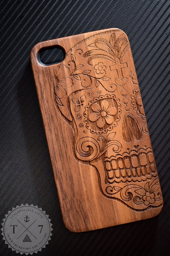 Sugar Skull Wooden iPhone 5 5s iPhone 6 case walnut bamaboo wood iphone case