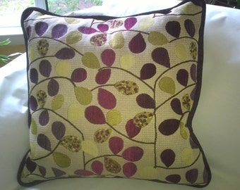 Purple and Lime Leaves Pillow