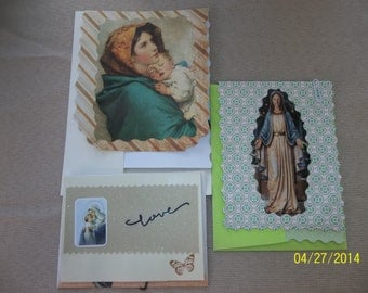 RELIGIOUS VIRGIN MARY Cards, Set of Three, Blank inside with decorations, stationery papers, Mary and Child, envelopes included, handmade