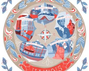 Illinois State Plate Art Print 10x8