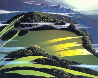 BEYOND THE VALLEY by Eyvind Earle ~ 1986 Limited Edition Serigraph ~ Beautiful Santa Barbara County California Santa Ynez Valley