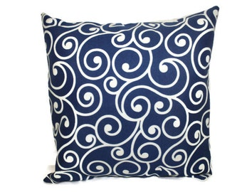 Pillow, Throw Pillow Cover, Decorative Pillow Cover Oudoor Nay and Cream Swirl  Design