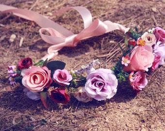 Blooming Love / peach, pink, orenge, flower crown, wedding, bridal hair accessories, floral crown, vintage